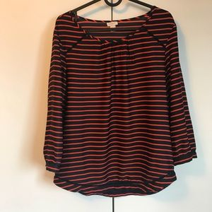 J. Crew navy and orange silky shirt size small